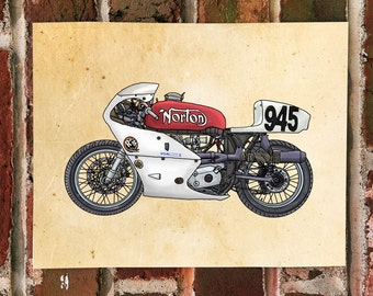 KillerBeeMoto: Limited Print Hand Drawn British Racing Motorcycle Drawing 1 of 50