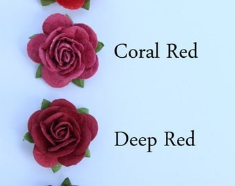 Red rose flower embellishments - decorations for favors, cards, thank you tags, gift tags, wedding decorations and more