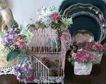 Floral Embellished Vintage Look Bird Cage Vignette & Staging Decor Hanging Cage Whimiscal Shabby Chic Countryside