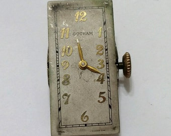 Vintage, Gotham, Wristwatch, Movement, Dial, Steampunk, Altered Art, Mixed Media, Jewelry, Bead, Beading, Supply; working