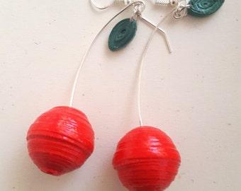 Cherry earrings-free shipping