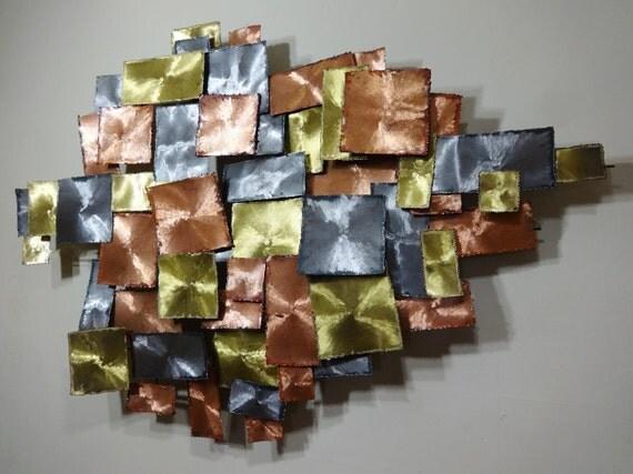 Mid Century Modern Brutalist Torch Cut Metal Wall Sculpture