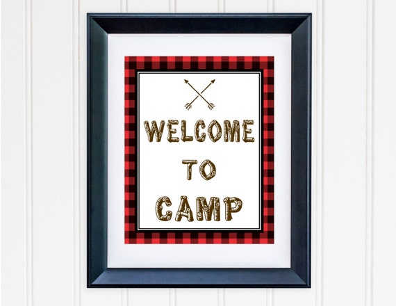 Printable Camping Birthday Sign Printable Buffalo Plaid