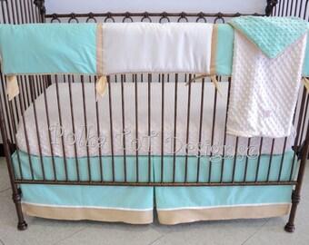 Mint & Gold Bumperless Baby Bedding Gender Neutral: Frankie