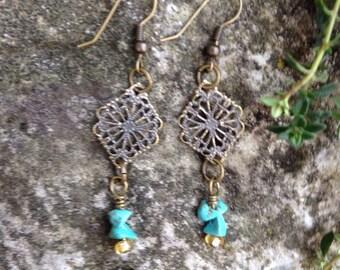 Turquoise dangle earrings   brass  earrings   boho earrings   bohemian earrings   gypsy earrings   antique gold earrings   vintage