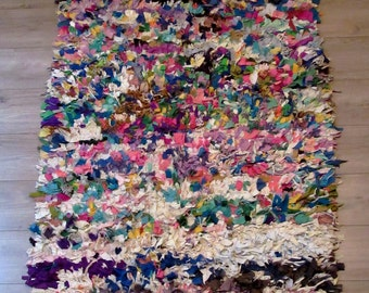 """Moroccan rug boucherouite ref 051 (boucharouette) (79 1/2 x 41 1/3"""")  berber tribal art"""