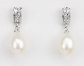8mm Ivory freshwater Bridal Pearl Earrings,bridesmaid earrings,wedding pearl earrings,bridal pearl earrings,bridesmaid gift jewelry