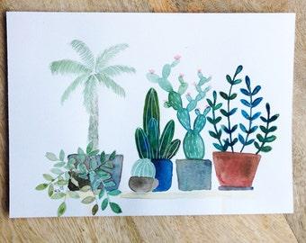 Houseplants on a row No. 1, an original watercolor illustration