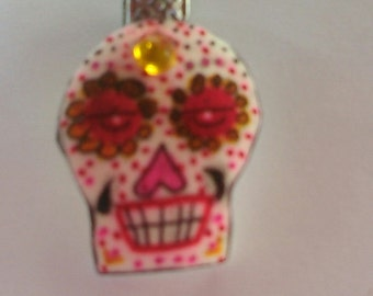 Unique one of a kind Day of the Dead Skull hand painted pendants