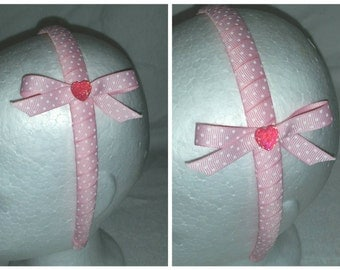 Pink Polkadot Wrapped Headband with Bow - Custom color(s) available