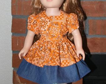 """Orange Bandana Print and Denim Dress for 18"""" doll like American Girl"""