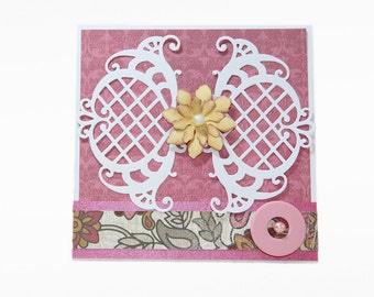 Pink Floral Card, Birthday card, Thank you card, Thinking of you card, all occasions card, card for her, pink and white