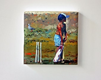 Tiny Canvas | Beach Cricketer | Beach Art | Canvas Print | Wall Art | Children Playing | Small Art Print | Present | Collectible Art