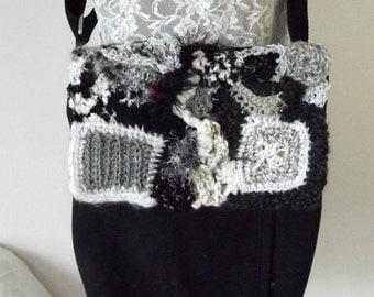 Embellished Bag, Embellished Messenger, Black White Purse, Freeform Crochet Purse, Crossbody, Messenger Bag, Kindle, Shoulder Bag, Notebook