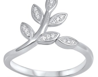 Bay Leaf Ring in Solid 925 Sterling Silver Clear Russian CZ Fashion Cute Leaf Ring Delicate Laurel Ring whimsical Wrap ring Graduation Gift