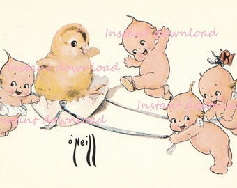 Vintage Easter Kewpie image, instant download, Kewpies with Easter egg and baby chick. For greeting cards, scrapbooking, gift tags
