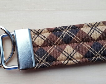 Quilted Key Chain   Brown and Tan Plaid