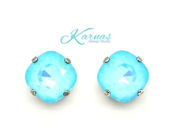 ULTRA TURQUOISE AB 12mm Crystal Stud Earrings 2016 Swarovski Elements Cushion Cut *Pick Your Finish *Karnas Design Studio *Free Shipping*
