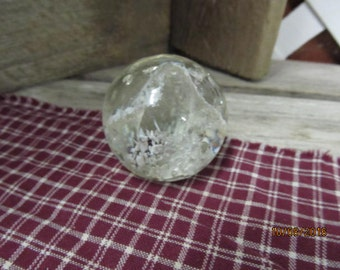 """Vintage Clear Glass Desktop Paperweight Round Chippy Look with White 2 1/4"""""""