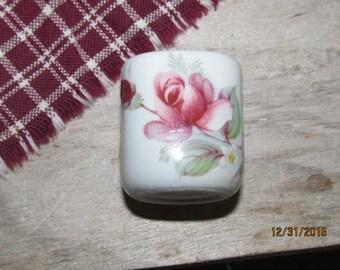 Vintage Funny Design West Germany Porcelain Miniature Taper Candle Holder Pink Red Rose