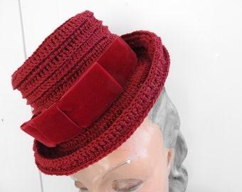 1940's Replica Crochet  Tilt Hat