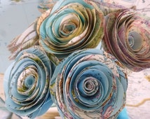 Map Paper Rosettes ~ Set of 7 ~ Travel-theme Paper Flower; Travel Wedding Decor; Travel -inspired Party