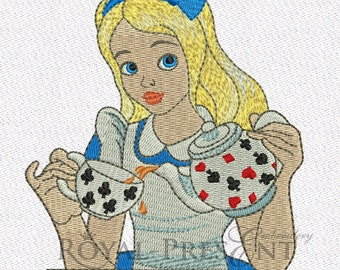 Embroidered Patch / applique - Alice & tea - Alice in Wonderland sew or glue on 5 x 6 inch