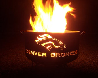 Denver Broncos large firepit of mostly salvaged steel