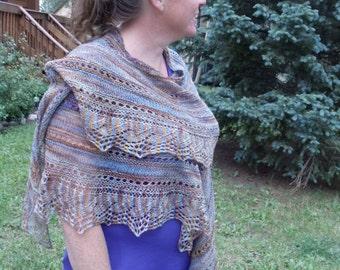 Handknit wool lace shawl