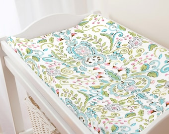 Carousel Designs Love Bird Damask Changing Pad Cover