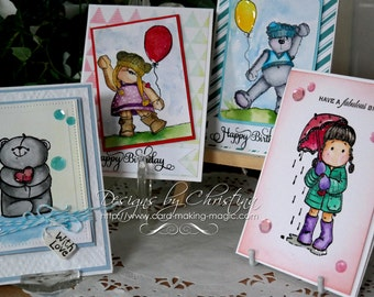Hand coloured Birthday Cards