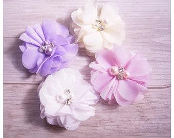 Chiffon Flower Hair Clips * 22 colours * Bridal Hair Clips * White Pink Ivory Black Green Red Blue Yellow Purple Navy Orange Peach Lemon