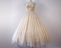 Vintage 1950s tulle Wedding gown size S gold brocade corset top