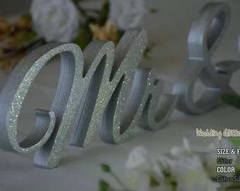 Gold and Silver Glitter Mr & Mrs Sweet Heart Table Sign, Sweetheart table, Reception, Bridal Decoration