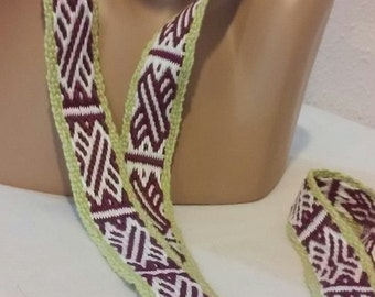 Handmade lanyard / ID Badge Lanyard-teacher Lanyard- Name Badge Holder- cute lanyards- woven lanyard-maroon-white and lime green