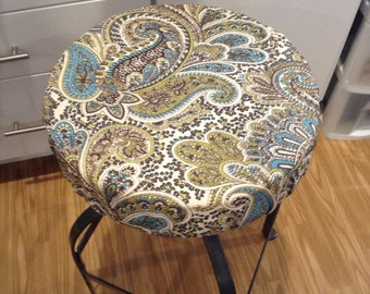 Rustic paisley print elasticized round barstool cover, counter stool cover, chocolate brown, teal and lime green, washable cotton fabric