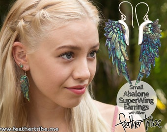 Angels Wing Earrings-  Superwing Earrings - with Silver - Hand Carved Abalone , Paua Shell - Feather Tribe