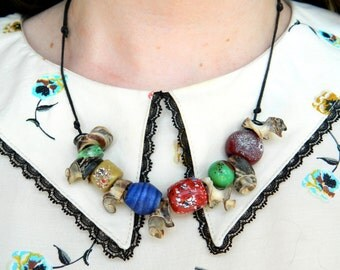 Glass Bead and Shell Viking Anglo Saxon Style Beaded Necklace