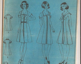 Simplicity 6340 Misses Dress with Sailor Collar Pattern, Size 12. Vintage 1960's