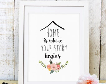 "30% OFF SALE ""Home Is Where Your Story Begins"" Print, Home Print, Quote Art, Printable Quote, Home Decor, Floral Home Quote,Instant Download"
