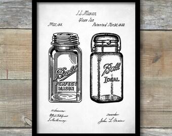 Patent Poster, Kitchen Art, Mason Jar, Patent Prints, Kitchen Decor, Restaurant Wall Art, Kitchen Wall Decor, P424
