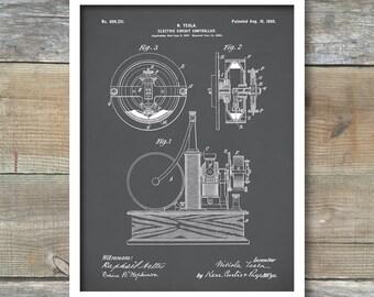 Tesla Electric Circuit Controller Poster, Tesla Electric Circuit Controller Patent, Tesla Electric Circuit Controller Print, P280