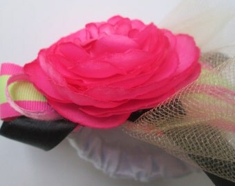 Pink and Black Flower Wrist Corsage, Bridal Corsage, Red Pink Flower Wristlet
