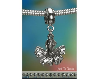 Sterling Silver Hibiscus Charm or European Style Charm Bracelet .925