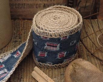 Jute Stitched Burlap Ribbon ~Natural~Denim~Blue~Patch~Bows~Primitive~Country~Weddings~Garland
