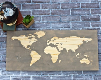 Small Wood World Map in Gray