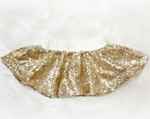 Baby girl clothing Limited time only Gold Sequin sparkle Skirt, Gold sparkle, Skirt only, Holiday and Christmas skirt