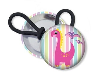 Dinosaur Ponytail Holder Pink and Purple Hair Accessories Shoelace Charm 1 Inch Pinback Button Zipper Charm Pull Magnet