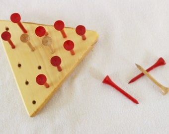 Triangle Peg Board Game Wooden Toy