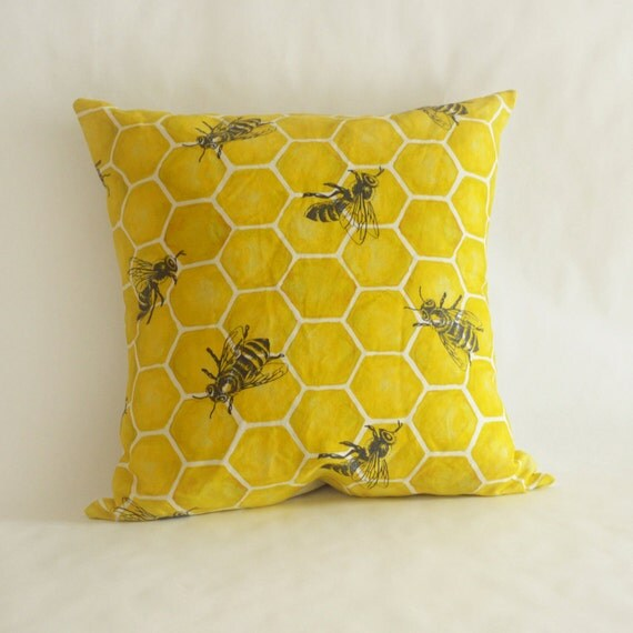 Bee Throw Pillow With Down Filled Insert
